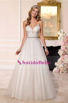 2016 Tulle vestidos de boda correas espaguetis con apliques Sash Y tribunal tren espalda abierta US$ 249.99 VTOPN6163PP - vestidobello.com