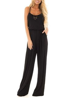 cf0083a347 Women Summer Casual Loose Spaghetti Strap Sleeveless Open Back Wide Leg  Long Pants Romper Jumpsuits Black Large
