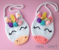 Minasscraft: Free crochet Unicorn Purse pattern in English and Spanish. Crochet Gratis, Crochet Diy, Easy Crochet Projects, Crochet For Kids, Purse Patterns Free, Crochet Purse Patterns, Free Pattern, Crochet Handbags, Crochet Purses
