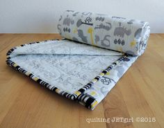 Chevron Animals with Two by Two Baby Quilt made from Circo fitted crib sheets, Handmade by Quilting Jetgirl