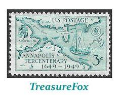 Pack of 20 .. 3c Annapolis Maryland 300th Anniversary .. 20 Vintage UNused US Postage Stamps | Naval Academy | Chesapeake Bay | Sport Fish