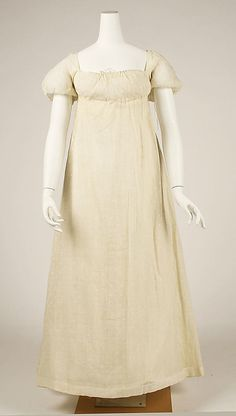 American dress (unknown material) circa 1804-10 from the Metropolitan Museum of Art. Note the two drawstrings in the back and the drawstring in the front.