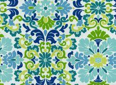 Home Decor Print Fabric- PKL Folk Damask Seaspray
