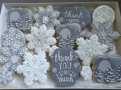 Snowflake Thank You in shades of gray and white. Cookie set by Kristi's Treatery