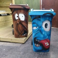 Street Art by Si2. A hireable graffiti artist who decorates wheelie bins with comical characters.