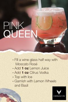In the mood for something new to share with your gals this weekend? Try our Pink… In the mood for something new to share with your gals this weekend? Try our Pink Queen Wine Cocktail and enjoy! Wine Cocktails, Cocktail Drinks, Cocktail Recipes, Sangria, Pink Drinks, Summer Drinks, Alcoholic Drinks To Try, Citrus Vodka, Alcohol Drink Recipes