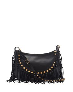 dfd00400c155 Valentino C-Rockee Studded Fringe Hobo Bag