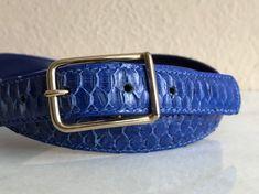 Blue Snakeskin Belt Skinny Leather Gold Buckle Vintage | Etsy