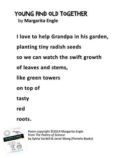"""""""Young and Old Together"""" © 2014 Margarita Engle from THE POETRY FRIDAY ANTHOLOGY® FOR SCIENCE edited by Sylvia Vardell and Janet Wong (© Pomelo Books, 2014). Green Tower, Figurative Language, Margarita, Poems, Friday, Science, Activities, My Love, My Boo"""