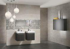 carrelage design salle de bain brillant luminaire suspension tendance meuble bois miroir