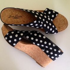 Lucky Brand Wedges Lucky Brand Wedges New in Box Originally $79 Black and White polka dot straps Stretchy but reinforced so they won't stretch out too quickly  4' Wedge bottom Great traction on the bottom  Size 8.5 Lucky Brand Shoes Sandals