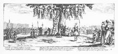 Jacques Callot : Les grandes misères de la guerre- l'Arbre aux pendus (1633) A la fin ces voleurs infâmes et perdus Comme fruits malheureux à cet arbre pendus Montrent bien que le crime horrible et noire engeance Est lui-même instrument de honte et de vengeance Et que c'est le destin des hommes vicieux D'éprouver tôt ou tard la justice des cieux.