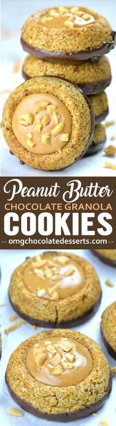 Peanut Butter Chocolate Granola Cookies are perfect bite-sized snacks! Granola cookies dipped in dark chocolate with a scoop of peanut butter in the middle. Peanut Butter Roll, Peanut Butter Granola, Peanut Butter Filling, Chocolate Peanut Butter, Easy No Bake Desserts, Köstliche Desserts, Chocolate Desserts, Delicious Desserts, Dessert Recipes