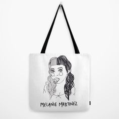 Melanie Martinez Tote Bag ❤ liked on Polyvore featuring bags, handbags, tote bags, tote purses, white tote purse, white handbags, tote handbags and tote hand bags