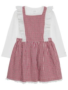 Add a fun touch to baby's wardrobe with this beautiful gingham cotton pinafore dress. The dress is in two parts, the top part with the red and white check and c Pinafore Dress, Button Dress, Lace Detail, Baby Dress, Gingham, Ruffles, Long Sleeve Tops, Babe, Girl Outfits