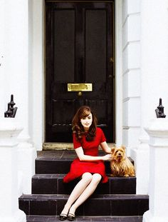 Great hair, great dress, great shoes...the dog's not so bad either : )