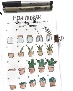 "17.5 mil Me gusta, 68 comentarios - Notebook Therapy (@notebook_therapy) en Instagram: ""Anyone who needs inspiration to draw plant doodles should follow this amazing step by step by…"""