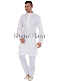Conspicuous white color linen #Kurta with resham thread work. Item Code : SKPD5012WW http://www.bharatplaza.com/new-arrivals/kurta-pyjamas.html