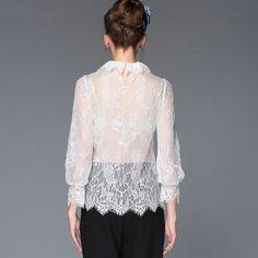 Women Sexy Black White Sheer See Through Lace Tops Shirt Blouse Blusa de Renda S-5XL
