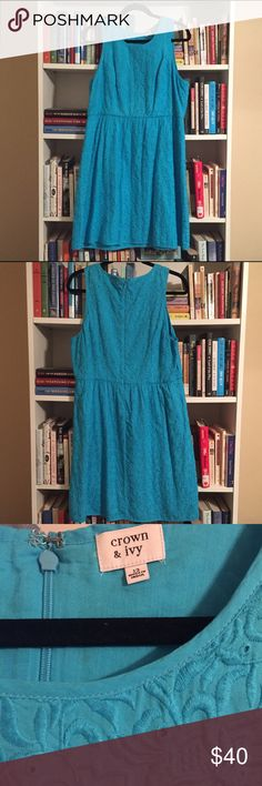 Crown & Ivy Embroidered Eyelet Dress Pretty dress by Crown & Ivy. The fabric is embroidered eyelet and it zips up the back. Size 12. EUC.  •lowball offers will be declined •no trades •ask all questions before buying •unfair ratings from buyers are reported & buyer will be blocked - I don't misrepresent my products; what you see is exactly what you get & my prices are way more than fair. Please be kind as I always strive to be kind to you! Crown & Ivy Dresses