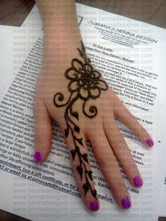 Arabic style simple Henna design on Hand