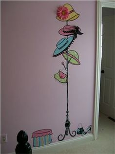 french black hat stand mural for girls room..lots of mural ideas