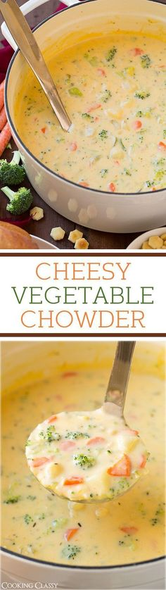 Cheesy Vegetable Chowder - adding this to the rotation, whole family LOVED it! Like broccoli cheese soup meets creamy potato soup.