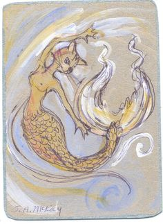 The CAT FISH MERMAID aceo ORIGINAL ART CARD Ink/Wash tabby tales by McKay | eBay