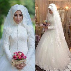2016 Muslim Arabic Lace Wedding Dresses Long Sleeves High Neck Lace Applique  Vintage Tulle Beaded Sweep Train Plus Size Vestios Bridal Gowns 187d9a0363e6