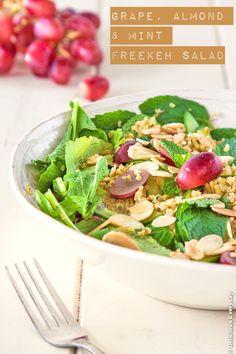 Freekeh Mint Almond and Grape Salad vegetarian recipe