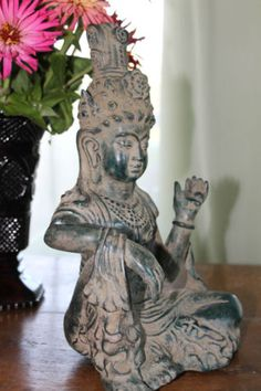 Quan Yin Statue Bodhisattva Buddha Goddess Mercy Bronze Sculpture Balinese Art