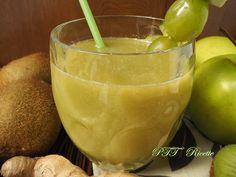 Centrifugato di kiwi, mele, zenzero. #kiwi #mela #zenzero #ricetta #succo #centrifugato #estratto #frutta #bibita #recipe #italianfood  #italianrecipe #PTTRicette
