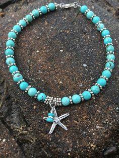 Ankle Bracelet Beach Anklet Starfish Anklet Ankle Jewelry Beach Jewelry Beaded Anklet Turquoise Anklet Nautical Jewelry Anklet - Anklet - Ideas of Anklet - Beach Anklet Starfish Anklet Ankle Bracelet Ankle Jewelry Ankle Jewelry, Ankle Bracelets, Body Jewelry, Jewelry Bracelets, Jewellery, Nautical Jewelry, Beach Jewelry, Turquoise Jewelry, Bridal Jewelry
