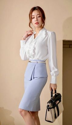 Sexy Blouse, Blouse And Skirt, Blouse Outfit, Ruffle Blouse, Secretary Outfits, Korean Girl, High Waisted Skirt, Girl Fashion, Casual Outfits