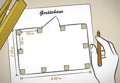 Heimwerker hat einen Bauplan erstellt. Der Plan zeigt die Position der senkrechten Pfosten für das Gerätehaus.