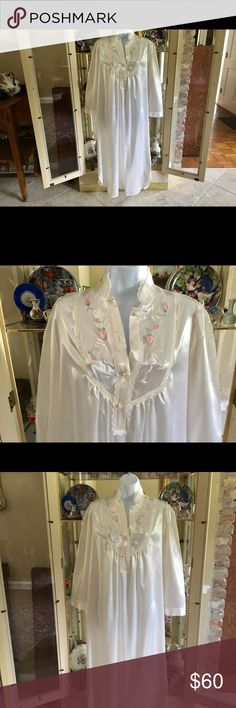 """VINTAGE MISS ELAINE SATIN WHITE LONG NIGHTGOWN GORGEOUS WHITE SATIN LONG SLEEVE PEARL BUTTONS WHITE LACE TRIM  PUNK , GREEN & WHITE EMBROIDERED FLOWERS  ALSO PINK & GREEN SATIN  FLOWERS  83% POLYESTER 17% COTTON  STYLE 51111  RN # 17414.  SIZE S  40"""" BUST  LENGTH 54"""" BRAND NEW CONDITION MISS ELAINE Intimates & Sleepwear Pajamas"""