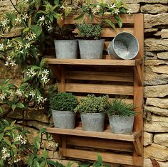 Wall Mounted Herb Rack + Galvanized Pots