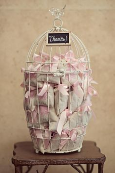 favors in a bird cage
