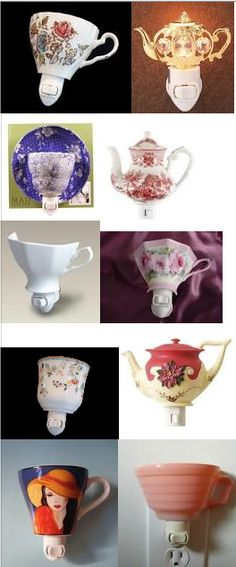 Make a night light with cups, dishes and teapots.  Clever.  And tailor made to taste.  You can get a nightlights at the dollar tree. It saves electricity to use a nightlight!