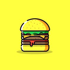 Burger vector art #art #vector #designed #designspiration #illustrator #icon…