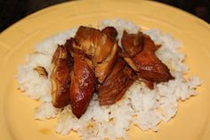Crockpot Teriyaki Chicken - 4 chicken breasts, soy sauce, brown sugar, ginger, garlic
