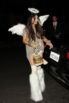 90 Cute, Crazy, and Creepy Celebrity Halloween Costumes  In 2013, Vanessa Hudgens outfitted a unique play on an angel for a costume party in Beverly Hills.