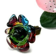 Ring Adjustable Wrap with Lampwork Bead by alyssakaycollections, $30.00