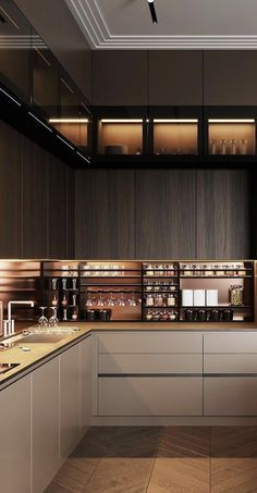 Luxury Kitchen Design, Kitchen Room Design, Contemporary Kitchen Design, Home Room Design, Home Decor Kitchen, Modern House Design, Interior Design Kitchen, Kitchen Furniture, Pantry Design