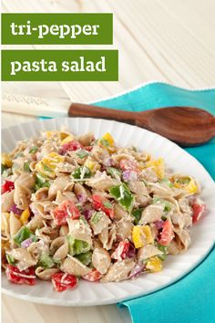 Tri-Pepper Pasta Salad – You'll never settle for less than three kinds of peppers again once you taste our creamy, cheesy Tri-Pepper Pasta Salad recipe.