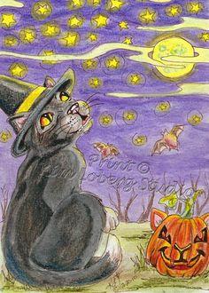 Witch Cat kitty pumpkin Watching Stars aceo Print EBSQ Kim Loberg Art halloween #IllustrationArt