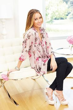 Lauren Conrad is my celeb style icon - silky easy blouse, super skinny jeans, and heels - totally my usual uniform <3