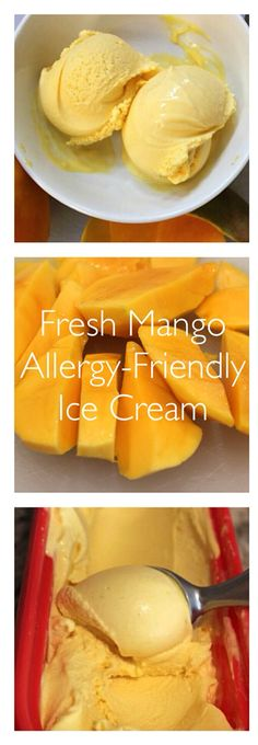 Rich, creamy, naturally sweetened and free of all top 8 allergens (contains coconut)- this fresh mango, vegan ice cream is so good!