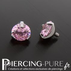 Accessoire microdermal cristal rond griffé rose de 5mm de diamètre. Rose, Piercings, Jewelery, Cufflinks, Stud Earrings, Pure Products, My Style, Crystal, Accessories
