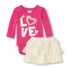 What's not to 'love' about this pretty ruffle skirt and matching bodysuit?!  #bigbabybasketsweeps